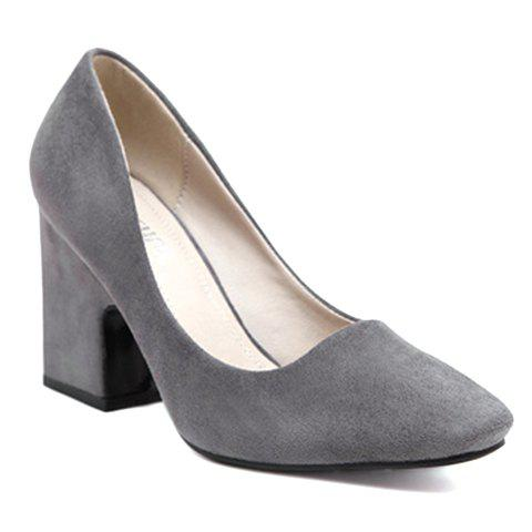 Laconic Flock and Square Toe Design Women's Pumps - GRAY 34