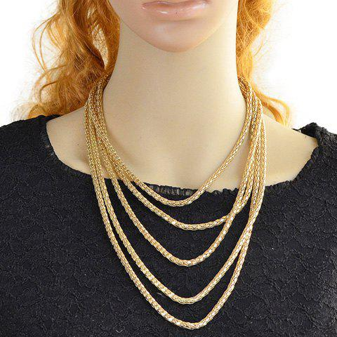 Charming Multilayered Solid Color Necklace For Women - GOLDEN