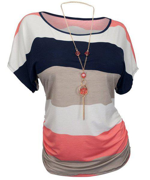 Casual Women's Round Neck Striped Plus Size T-Shirt - WATERMELON RED XL