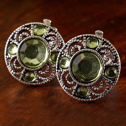 Pair of Round Faux Gemstone Earrings - GREEN
