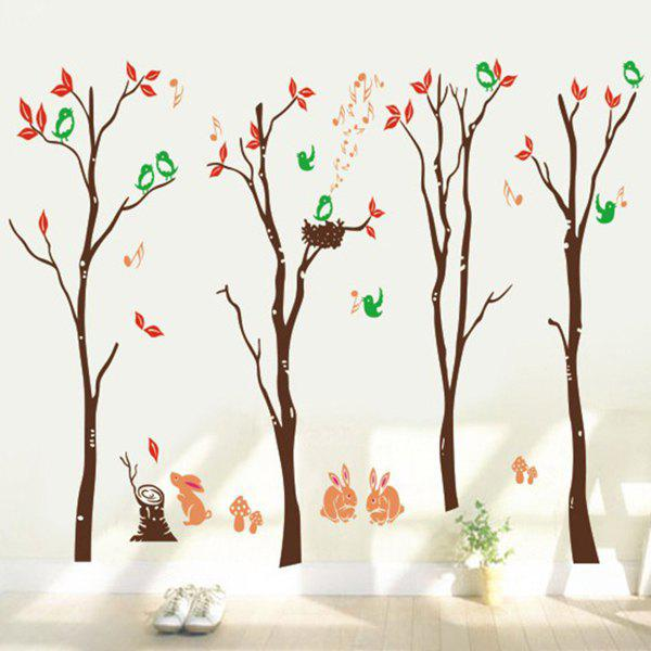 High Quality Colorful Cartoon Forest Pattern Removeable Wall Stickers - COLORMIX