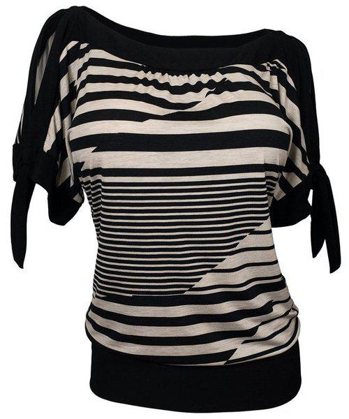 Loose Striped Short Sleeve Women's Plus Size T-Shirt - BROWN XL
