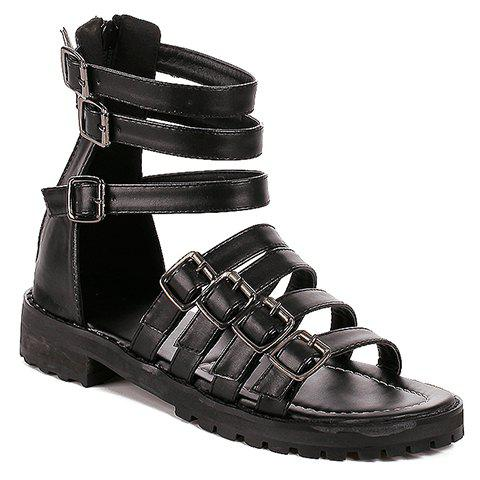Rome Strap and Buckles Design Women's Sandals - BLACK 38