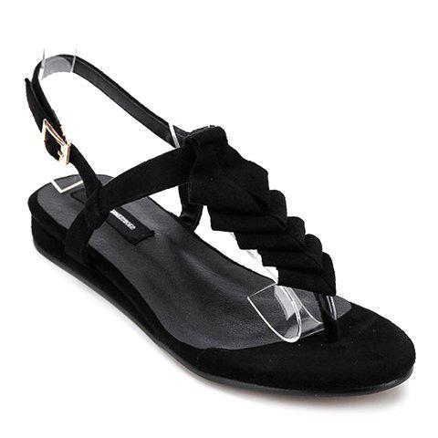 Leisure Black and Flip Flop Design Women's Sandals - BLACK 36