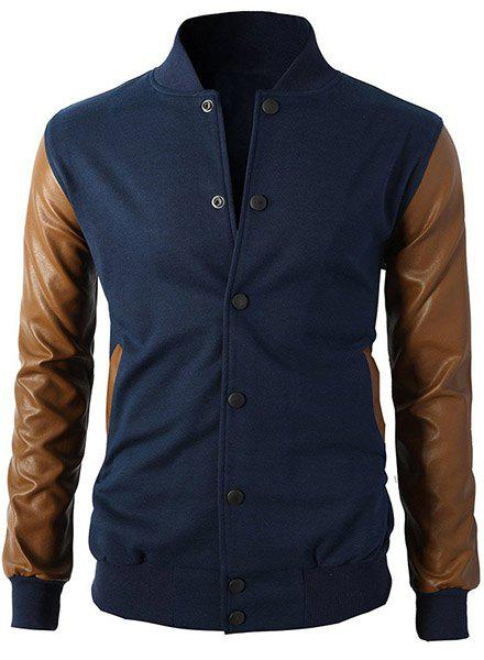Stand Collar PU-Leather Splicing Long Sleeve Men's Jacket - SAPPHIRE BLUE XL