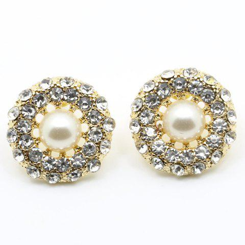 Pair of Trendy Faux Pearl Round Rhinestone Earrings For Women - WHITE