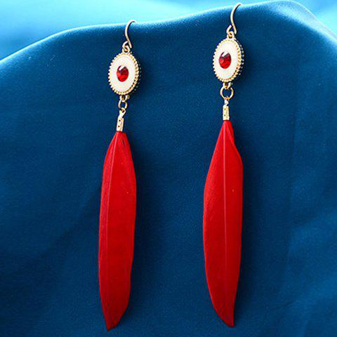 Pair of Long Style Feather Rhinestone Earrings - RED