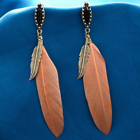 Rhinestone Feather Drop Earrings - ORANGE
