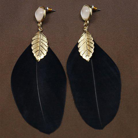 Faux Opal Feather Leaf Drop Earrings - BLACK