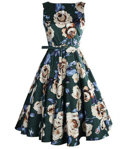 Vintage Sleeveless High Waist Floral Print Pleated Dress For Women - BLACKISH GREEN XS