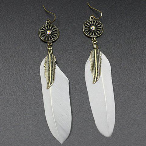 Pair of Chic White Feather Long Style Earrings For Women