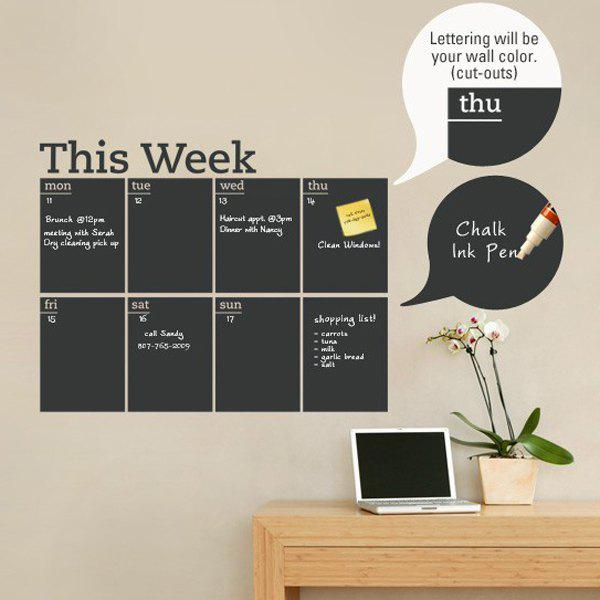Buy Weekly Plan Pattern Removeable School Wall Stickers BLACK
