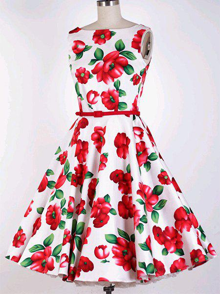 Vintage Women's Jewel Neck Sleeveless Floral Print Belted Flare Dress - RED XS
