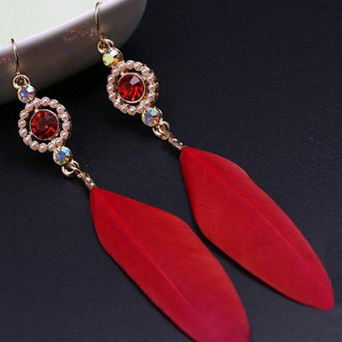 Pair of Feather Faux Ruby Earrings - RED