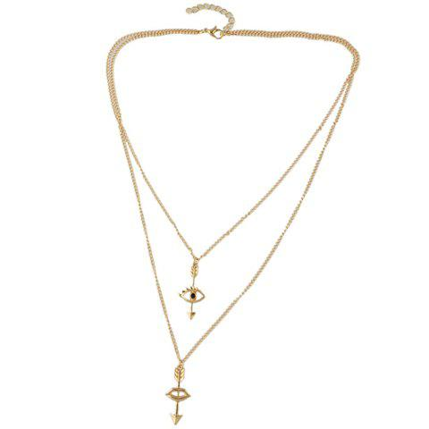 Chic Layered Evil Eye Arrow Shape Necklace For Women - GOLDEN