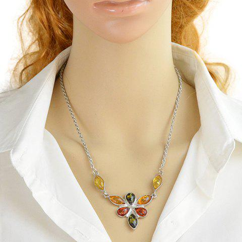 Fake Crystal Water Drop Statement Necklace - COLORMIX
