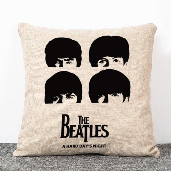 Stylish Retro Style The Beatles Pattern Flax Pillow Case(Without Pillow Inner) - BEIGE