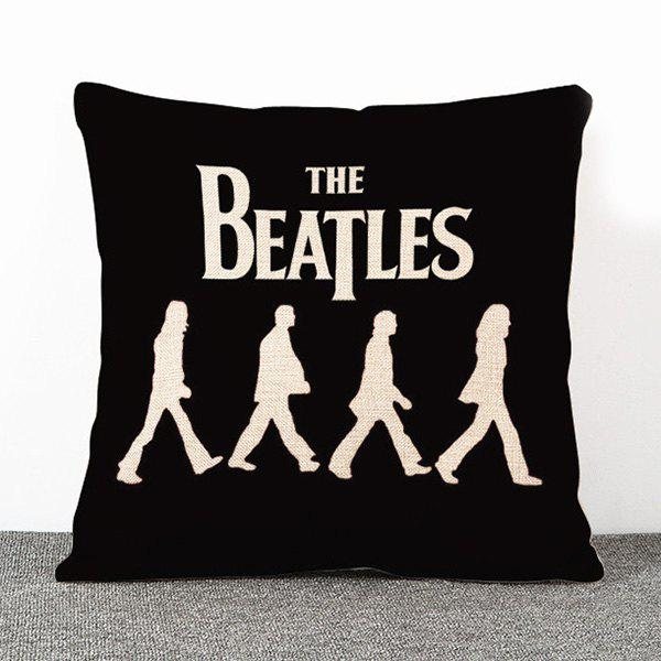 High Quality Black The Beatles Pattern Flax Pillow Case(Without Pillow Inner) - BLACK