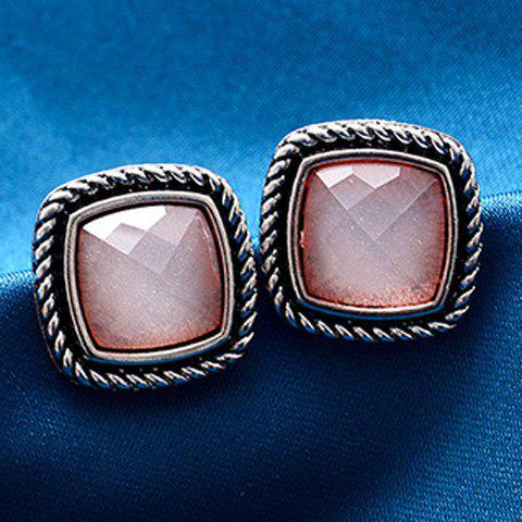 Pair of Faux Crystal Clip Earrings - SHALLOW PINK