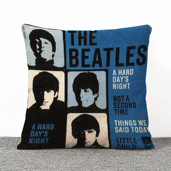 Hot Sale Letters Pattern The Beatles Pattern Flax Pillow Case(Without Pillow Inner)
