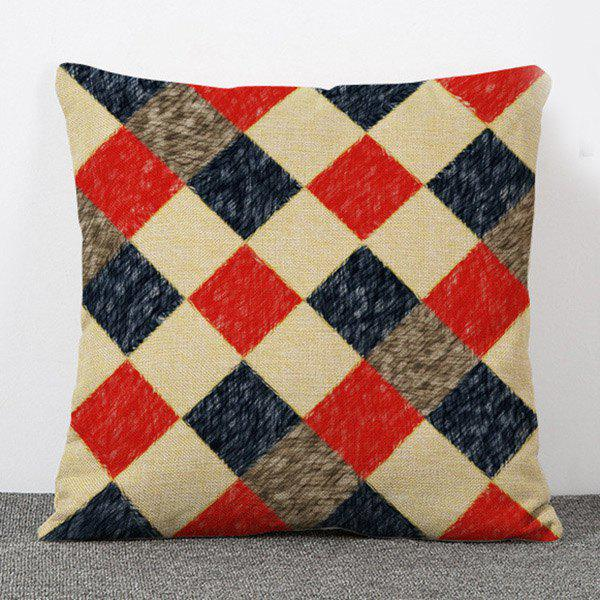 Fashionable Abstract Plaid Pattern Flax Pillow Case(Without Pillow Inner) - COLORMIX