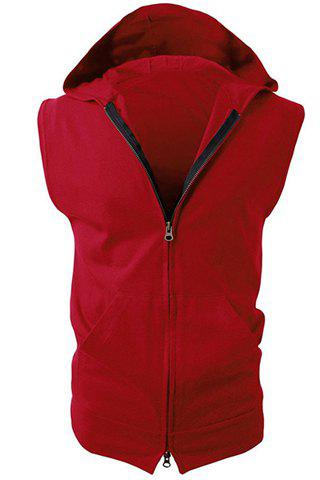 Hooded Solid Color Front Pocket Sleeveless Men's Waistcoat - RED M