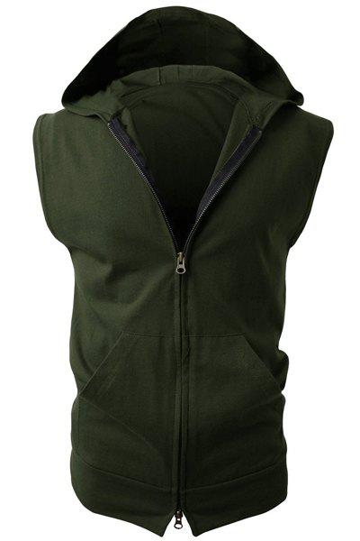 Trendy Hooded Solid Color Front Pocket Sleeveless Men's Waistcoat - ARMY GREEN XL