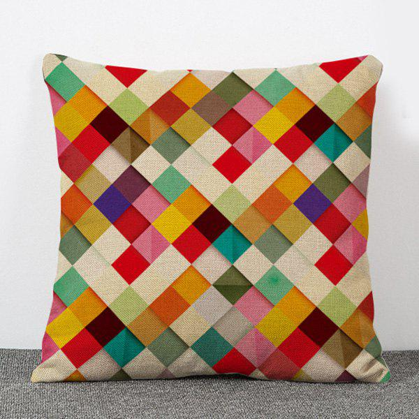Hot Sale Colorful Plaid Pattern Flax Pillow Case(Without Pillow Inner)