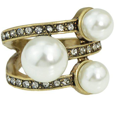 Charming Layered Rhinestone Faux Pearl Ring For Women - WHITE ONE-SIZE
