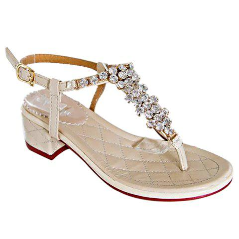 Sweet Flip Flops and Rhinestones Design Sandals For Women - OFF WHITE 35