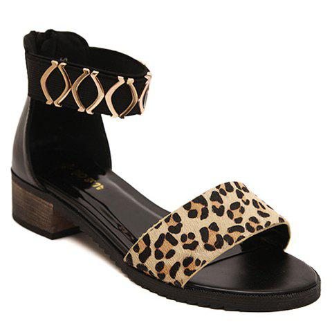 Stylish Leopard Print and Metallic Design Women's Sandals - BLACK 38