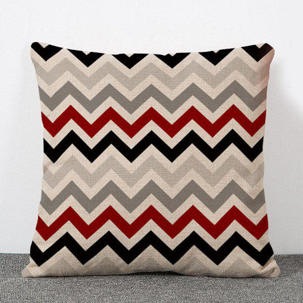 Chic Quality Stripe Wave Pattern Flax Pillow Case(Without Pillow Inner)
