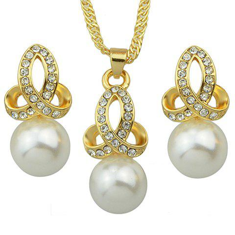 A Suit of Graceful Rhinestone Faux Pearl Necklace and Earrings For Women - GOLDEN