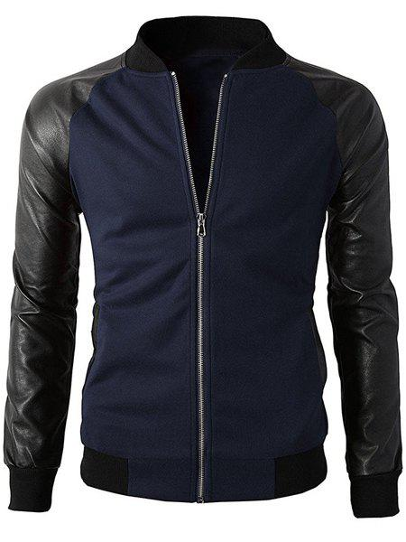 Stand Collar Color Block PU-Leather Spliced Long Sleeve Men's Jacket - SAPPHIRE BLUE L