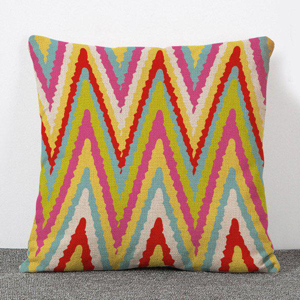 Hot Sale Multicoloured Stripe Pattern Flax Pillow Case(Without Pillow Inner)