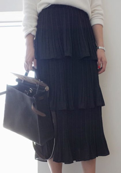 Cute Solid Color High Waist Pleated Layered Skirt For Women - BLACK ONE SIZE(FIT SIZE XS TO M)
