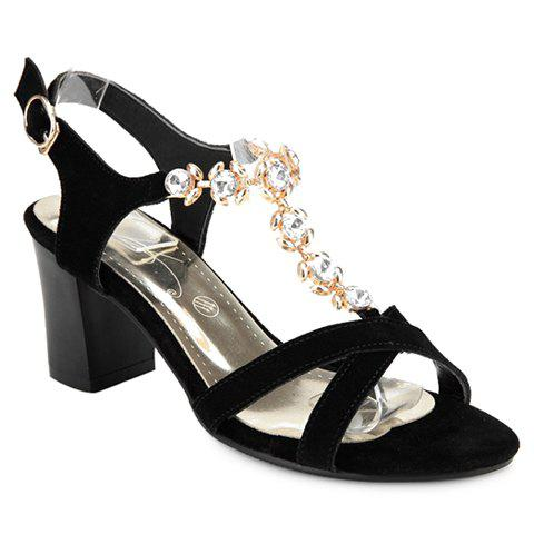 Elegant Rhinestones and Chunky Heeled Design Sandals For Women - BLACK 36