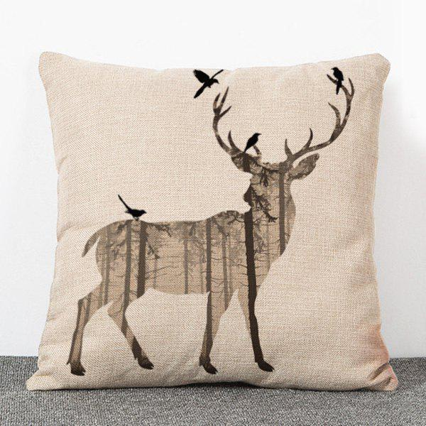 Hot Sale Wapiti Pattern Flax Pillow Case(Without Pillow Inner)