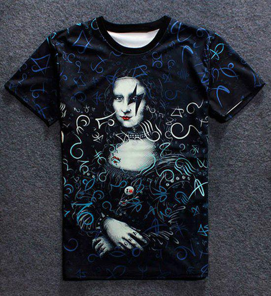 3D Mona Lisa Print Round Neck Short Sleeves Men's T-Shirt - COLORMIX 2XL