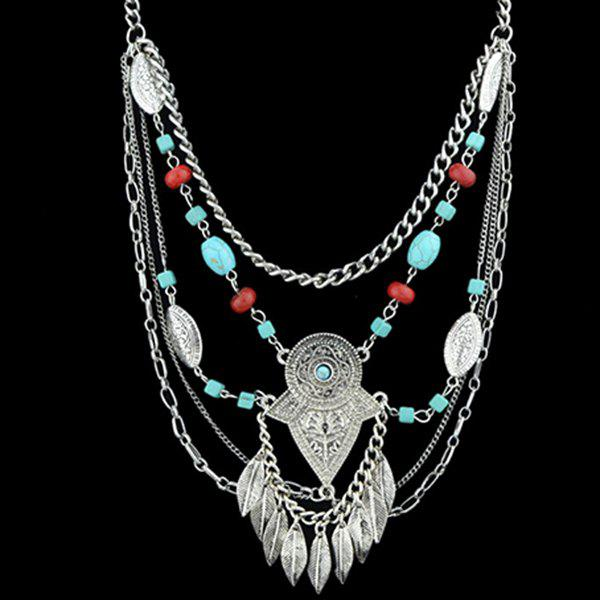 Faux Turquoise Multilayered Leaf Necklace - SILVER