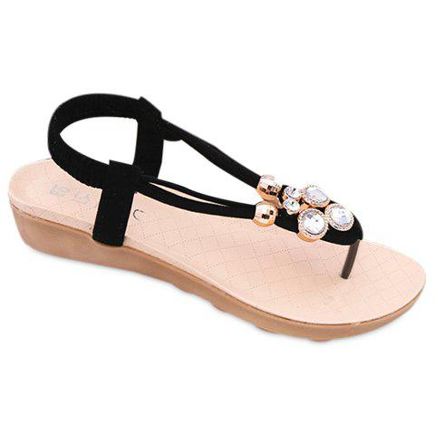 Casual Flip Flops and Elastic Band Design Sandals For Women - BLACK 38