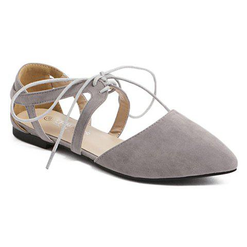 Fashionable Lace-Up and Solid Color Design Women's Flat Shoes - GRAY 38