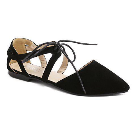 Fashionable Lace-Up and Solid Color Design Women's Flat Shoes - BLACK 36