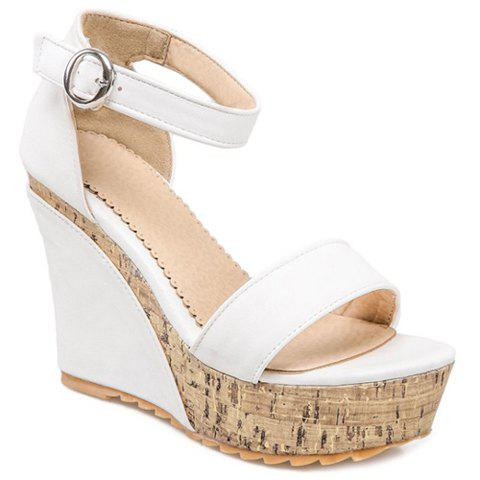 Stylish Ankle-Wrap and Platform Design Women's Sandals - WHITE 34