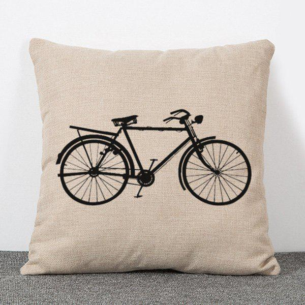 Fashionable Bicycle Pattern Flax Pillow Case(Without Pillow Inner) - APRICOT