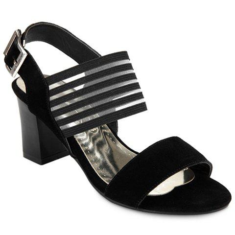 Fashion Suede and Buckle Strap Design Sandals For Women - BLACK 34