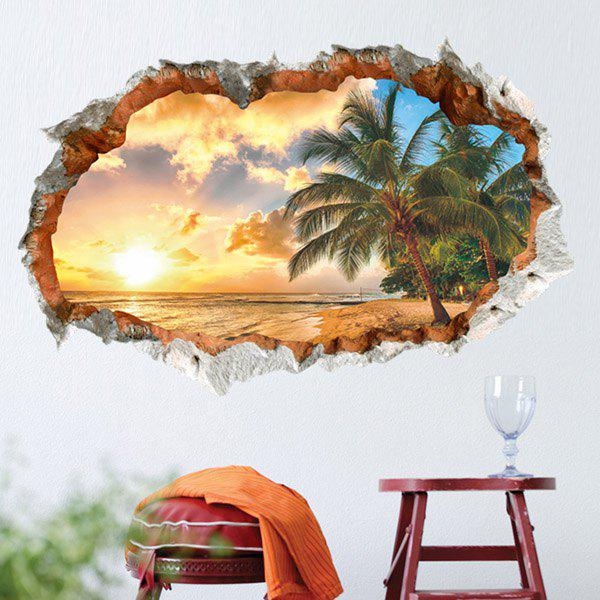 High Quality Sunny Beach Pattern Broken Wall Shape Removeable 3D Wall Sticker high quality tree lined trail pattern window shape removeable 3d wall sticker