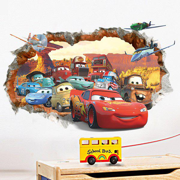 High Quality Cartoon Cars Pattern Broken Wall Shape Removeable 3D Wall Sticker - COLORMIX