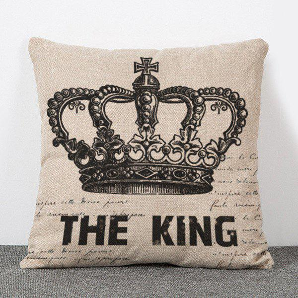 Chic Quality Crown and Letters Pattern Flax Pillow Case(Without Pillow Inner) - APRICOT