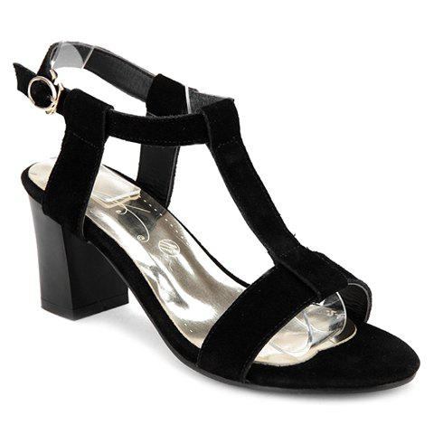 Trendy T-Strap and Suede Design Sandals For Women - BLACK 34